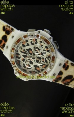 Hublot Big Bang White Zebra Bang Edition in White PVD Case 34MM Watch