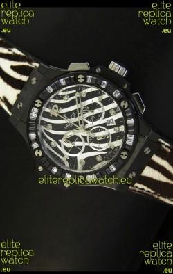 Hublot Big Bang White Zebra Bang Edition in Black PVD Case 34MM Watch