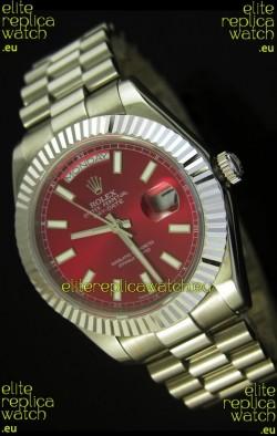 Rolex Day Date II 41MM Swiss Replica Watch - Red Dial - 1:1 Mirror Replica Watch