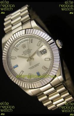 Rolex Day Date II 41MM Swiss Replica Watch - Steel Dial - 1:1 Mirror Replica Watch