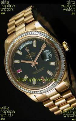 Rolex Day Date II 41MM Swiss Replica Watch - Black Dial - 1:1 Mirror Replica Watch