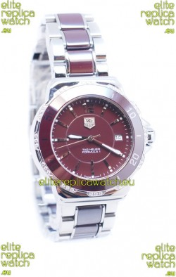 Tag Heuer Formula 1 Quartz Brown Ceramic Diamonds Bezel Watch