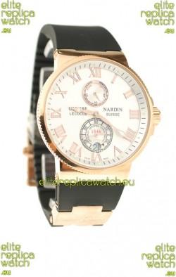 Ulysse Nardin Maxi Marine Chronometer Japanese Replica Rose Gold Watch