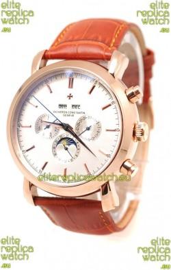 Vacheron Constantin Malte Perpetual Chronograph Japanese Replica Watch in White Dial
