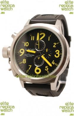 U-Boat Flightdeck Japanese Replica Watch in Black Dial