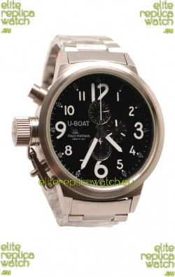 U-Boat Flightdeck Japanese Replica Steel Watch in Black Dial