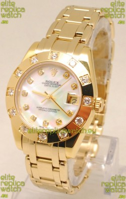 Rolex Datejust Pearlmaster Swiss Replica Gold Watch in White Pearl Dial -34MM