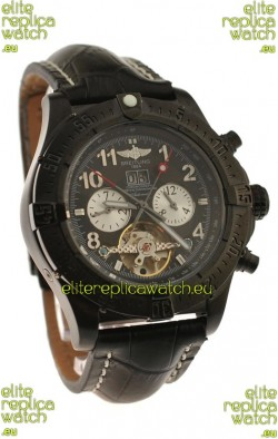Breitling Chronometre Tourbillon Japanese Replica Watch in Black Dial
