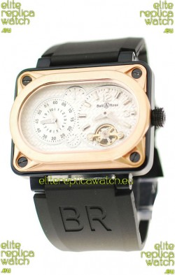 Bell and Ross BR Minuteur Tourbillon Japanese Replica Gold Watch in White Dial