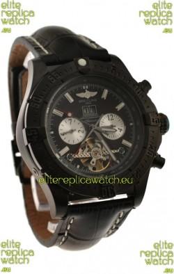 Breitling Chronometre Tourbillon Japanese Replica Watch in Black Strap