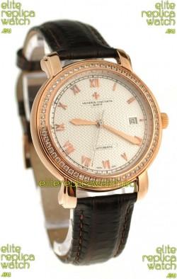 Vacheron Constantin Geneve Japanese Replica Gold Watch in Diamond Bezel