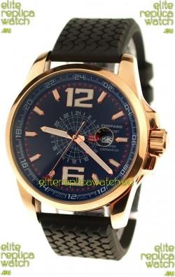 Chopard 1000 Miglia GT XL GMT Japanese Replica Gold Watch in Dark Blue Dial