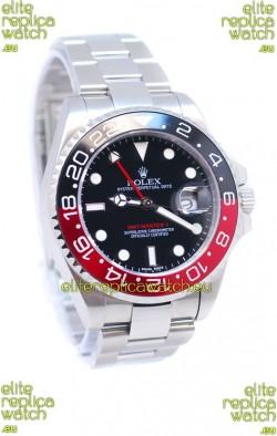 Rolex GMT Masters II 2011 Edition Swiss Replica Watch in Black & Red Cerarmic Bezel