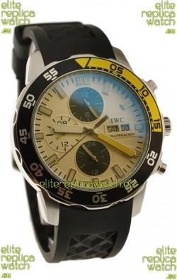 IWC Aquatimer Chronograph Japanese Replica PVD Watch in Black/Yellow Bezel