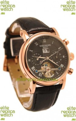 Patek Philippe Grand Complications Tourbillon Gold Watch in Black Dial