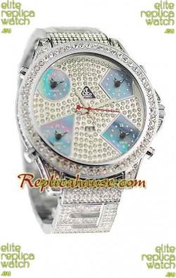 Jacob & Co Diamond Japanese Replica Watch in Light Blue Sub Dial
