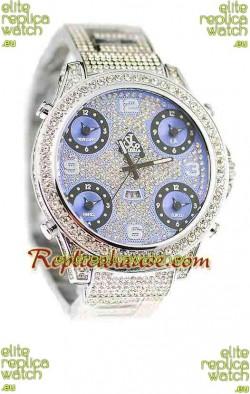 Jacob & Co Diamond Japanese Replica Watch in Light Blue Dial