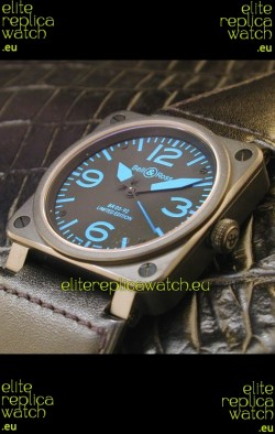 Bell and Ross BR01 92 Swiss Watch in PVD Casing and Blue Markers