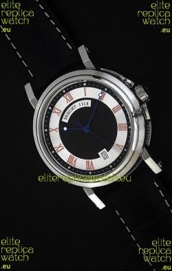 Breguet De La Marine Swiss Replica Steel Watch in Black & White Dial