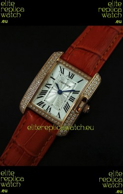 Cartier Louis Japanese Replica Ladies Rose Gold Diamond Watch in Orange Strap