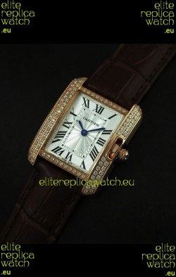 Cartier Louis Japanese Replica Ladies Rose Gold Diamond Watch in Brown Strap
