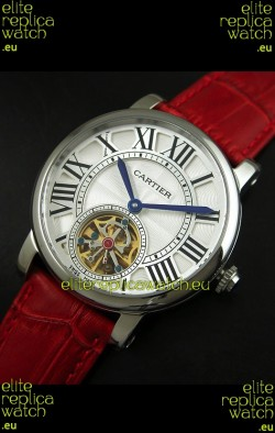 Cartier Ronde de Tourbillon Japanese Replica Watch in Red Strap