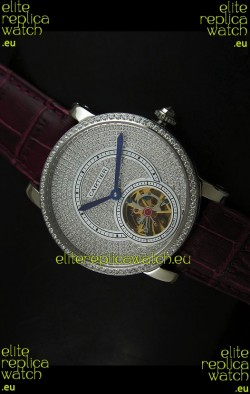Cartier Ronde de Tourbillon Japanese Replica Diamond Watch in Purple Strap