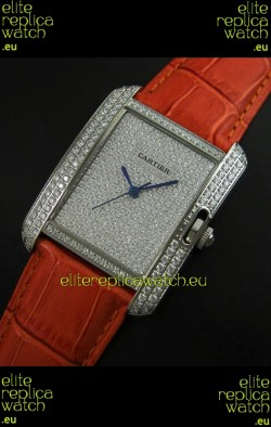Cartier Tank Anglaise Ladies Replica Watch in Steel/Brown Strap