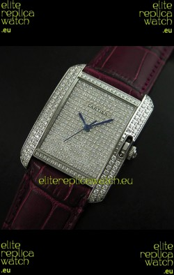 Cartier Tank Anglaise Ladies Replica Watch in Steel/Maroon Strap