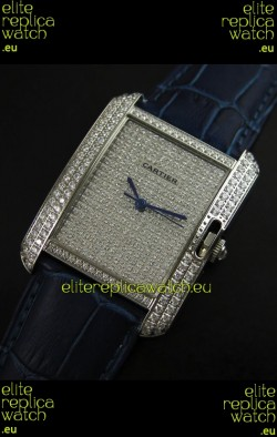Cartier Tank Anglaise Ladies Replica Watch in Steel/Purple Strap