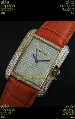 Cartier Tank Anglaise Ladies Replica Watch in Gold Case/Brown Strap