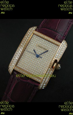 Cartier Tank Anglaise Ladies Replica Watch in Gold Case/Maroon Strap