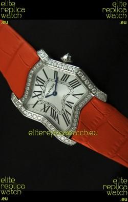 Cartier Tank Folle Ladies Replica Watch in Steel Case/Orange Strap