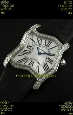Cartier Tank Folle Ladies Replica Watch in Steel Case/Black Strap
