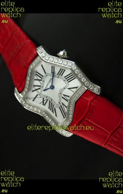 Cartier Tank Folle Ladies Replica Watch in Steel Case/Red Strap