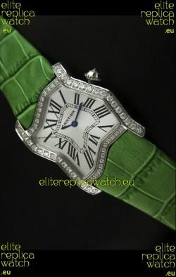Cartier Tank Folle Ladies Replica Watch in Steel Case/Green Strap