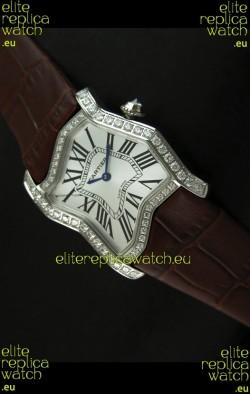 Cartier Tank Folle Ladies Replica Watch in Steel Case/Brown Strap