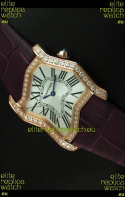 Cartier Tank Folle Ladies Replica Watch in Yellow Gold Case/Maroon Strap