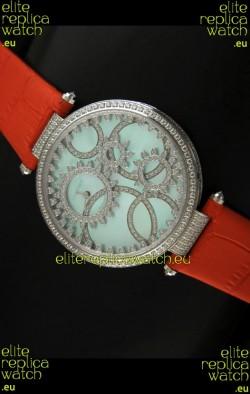Cartier Replica Watch with Diamonds Embedded Dial Bezel in Steel Case/Orange Strap