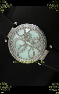 Cartier Replica Watch with Diamonds Embedded Dial Bezel in Steel Case/Black Strap
