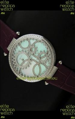 Cartier Replica Watch with Diamonds Embedded Dial Bezel in Steel Case/Maroon Strap