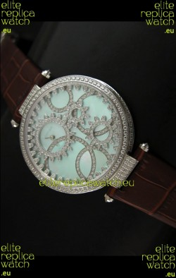 Cartier Replica Watch with Diamonds Embedded Dial Bezel in Steel Case/Brown Strap