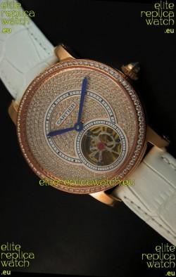 Ronde De Cartier Tourbillon Replica Watch Pink Gold Case - White Strap