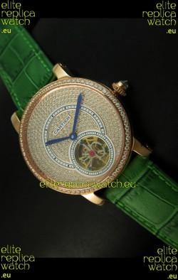 Ronde De Cartier Tourbillon Replica Watch Pink Gold Case - Green Strap