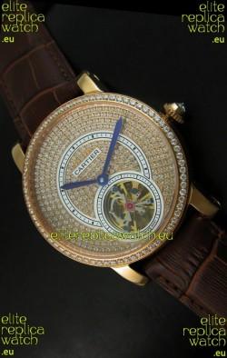Ronde De Cartier Tourbillon Replica Watch Pink Gold Case - Dark Brown Strap