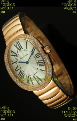 Cartier Baignoire Japanese Replica Watch in Yellow Gold/Diamonds Bezel