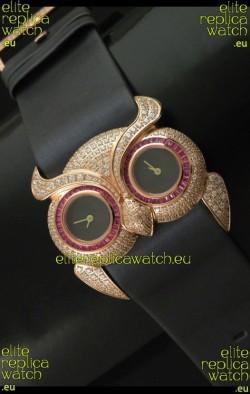Chopard Animal World Ladies Owl Black Full Diamond Watch with Gold Plating