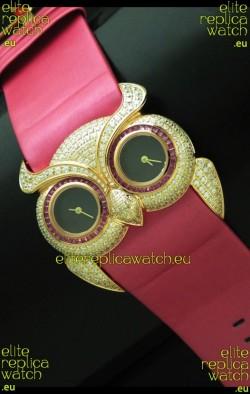 Chopard Animal World Ladies Owl Black Full Diamond Watch in Black Dial