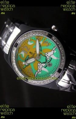 Corum Imitation Ceramics Japanese Replica Watch in Light Green & Yellow Dial