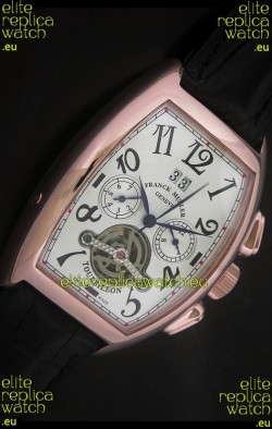 Franck Muller Tourbillon Japanese Replica Watch in Pink Rose Case